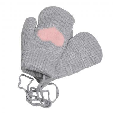 Зимние варежки для девочки на меху  Сердечко (серый), 6-8 лет